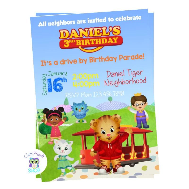 daniel tiger birthday invitation drive by birthday parade