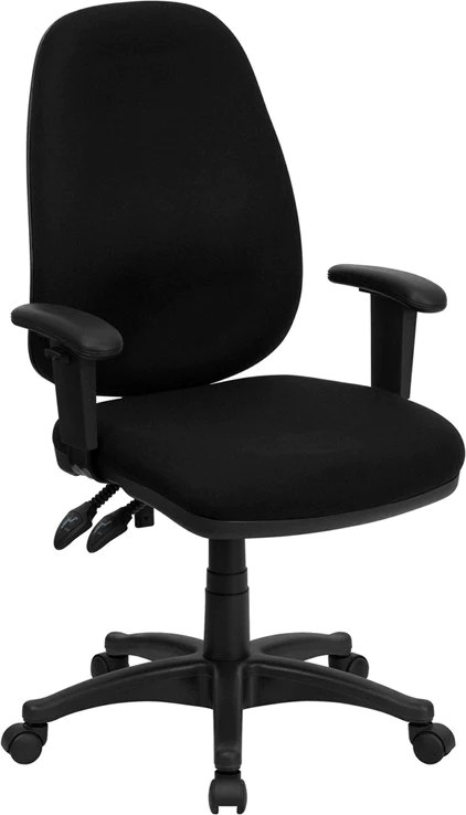 black computer chair cheap fold up camping chairs high back fabric ergonomic with height adjustable arms bt 661