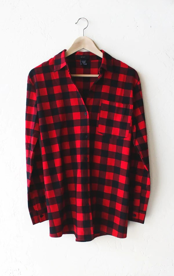 Go Away Oversized Plaid Flannel Shirt  NYCT Clothing