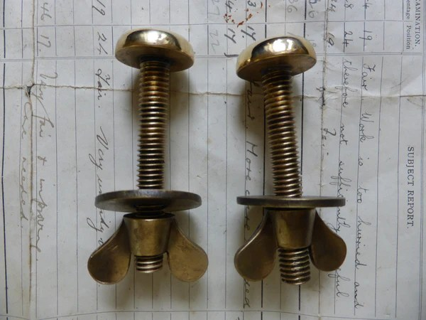 Pair Large Antique Brass Toilet Seat Fixing Nuts And Bolts
