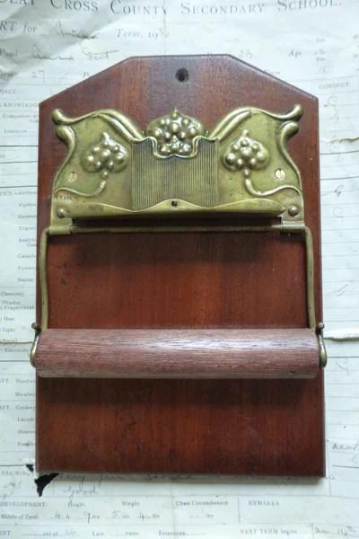 Art Nouveau Brass and Wood Antique Toilet Roll  Paper Holder  DragonQuarry Antiques  Restoration