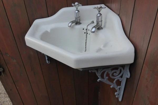 Victorian Corner Sink with Cradle  Brackets Taps  Plug  1893  DragonQuarry Antiques