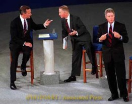 Associated Press photo of George H.W. Bush, Ross Perot and Bill Clinton during a 1992 debate.
