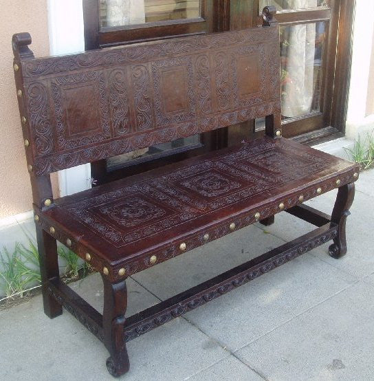Spanish Colonial Bench Ayacucho Hand Tooled Leather  R