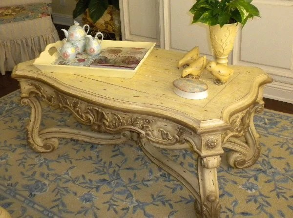 Old World French Renaissance Coffee Table Hand Painted  R Furniture by Olinda Romani Lance