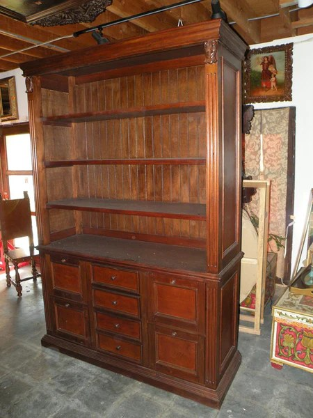 Leather Bookcase with file drawers mediterranean home office tuscan home office Santa Barbara