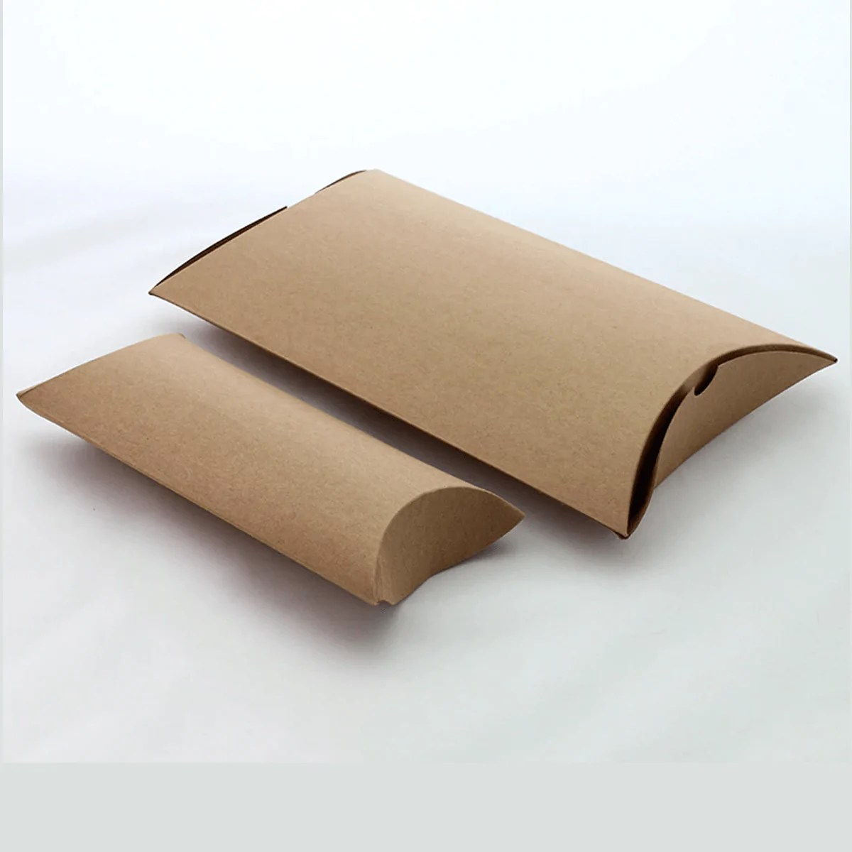 large brown kraft paper pillow box with handle 12 pcs pack 24x18cms
