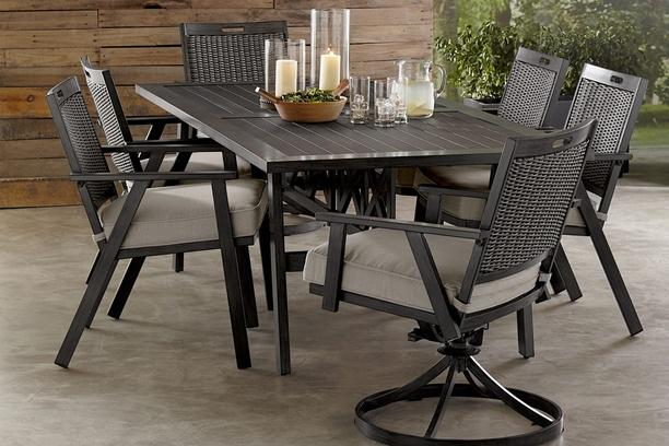 addison 7 piece dining set 42 x 84 dining table 4 chairs and 2 swivel