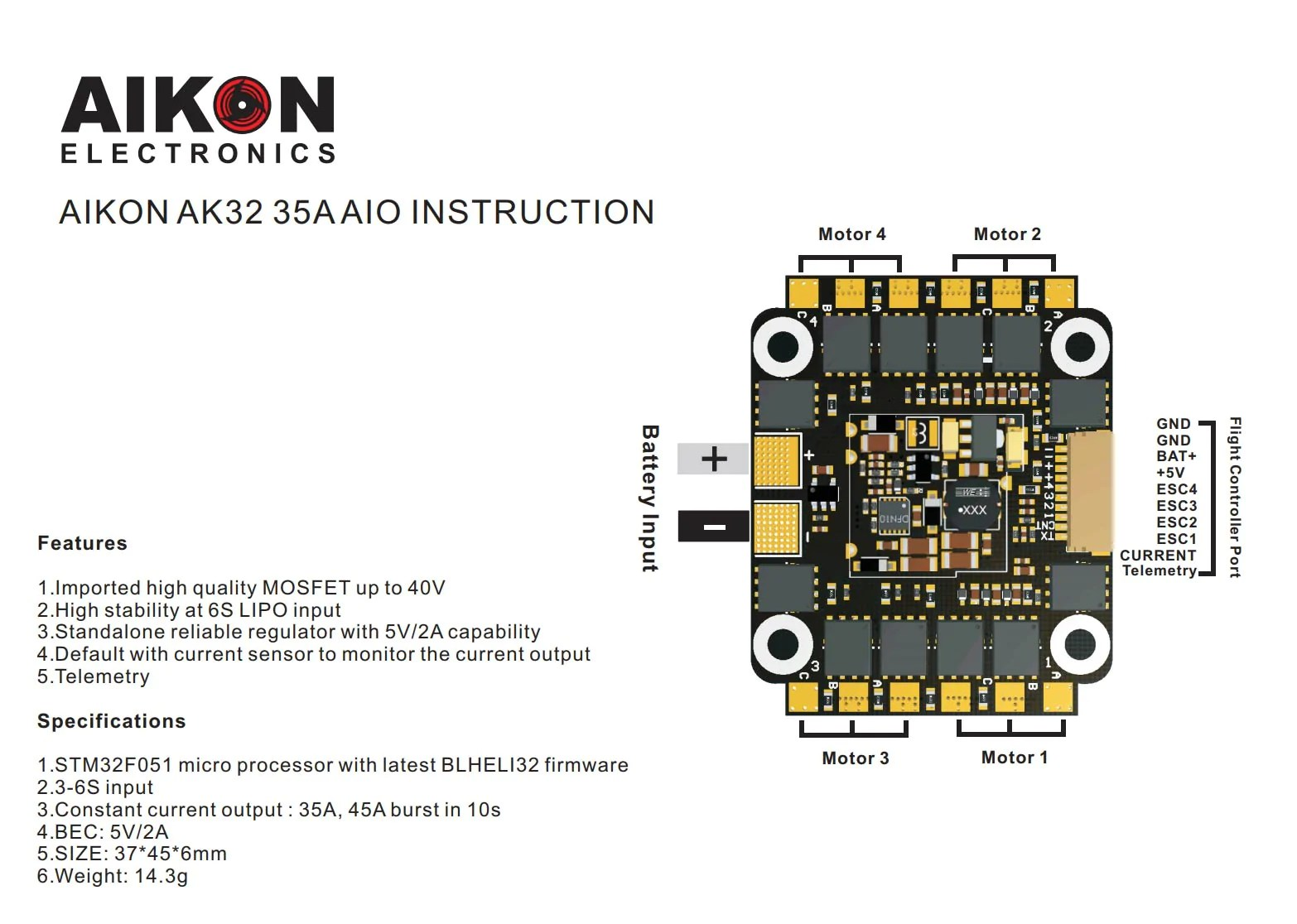 hight resolution of  aikon ak32 4in1 35a 6s bl heli32 esc