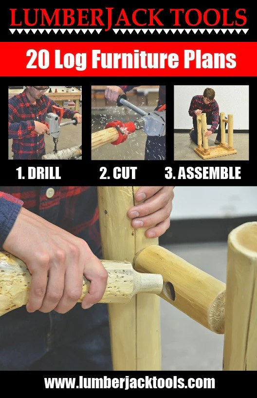 building an adirondack chair white leather swivel 20 log furniture plans booklet – lumberjack tools