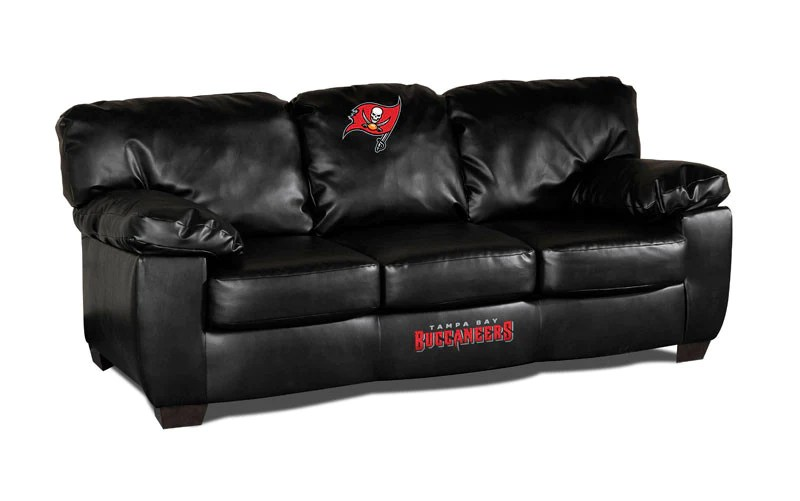 leather sofas tampa karlstad sofa with chaise dimensions bay buccaneers classic black imp 79 4009 man cave authority