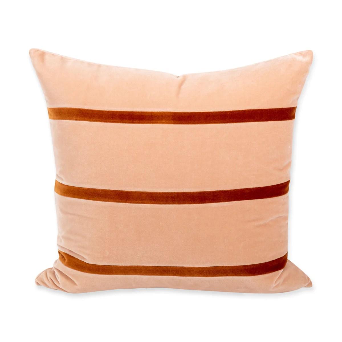 furbish studio jima velvet pillow peach burnt orange