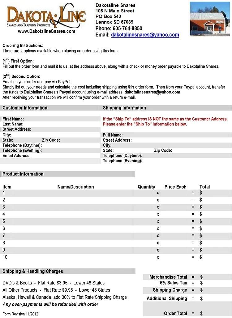 Printable Order Form - Dakotaline Snares