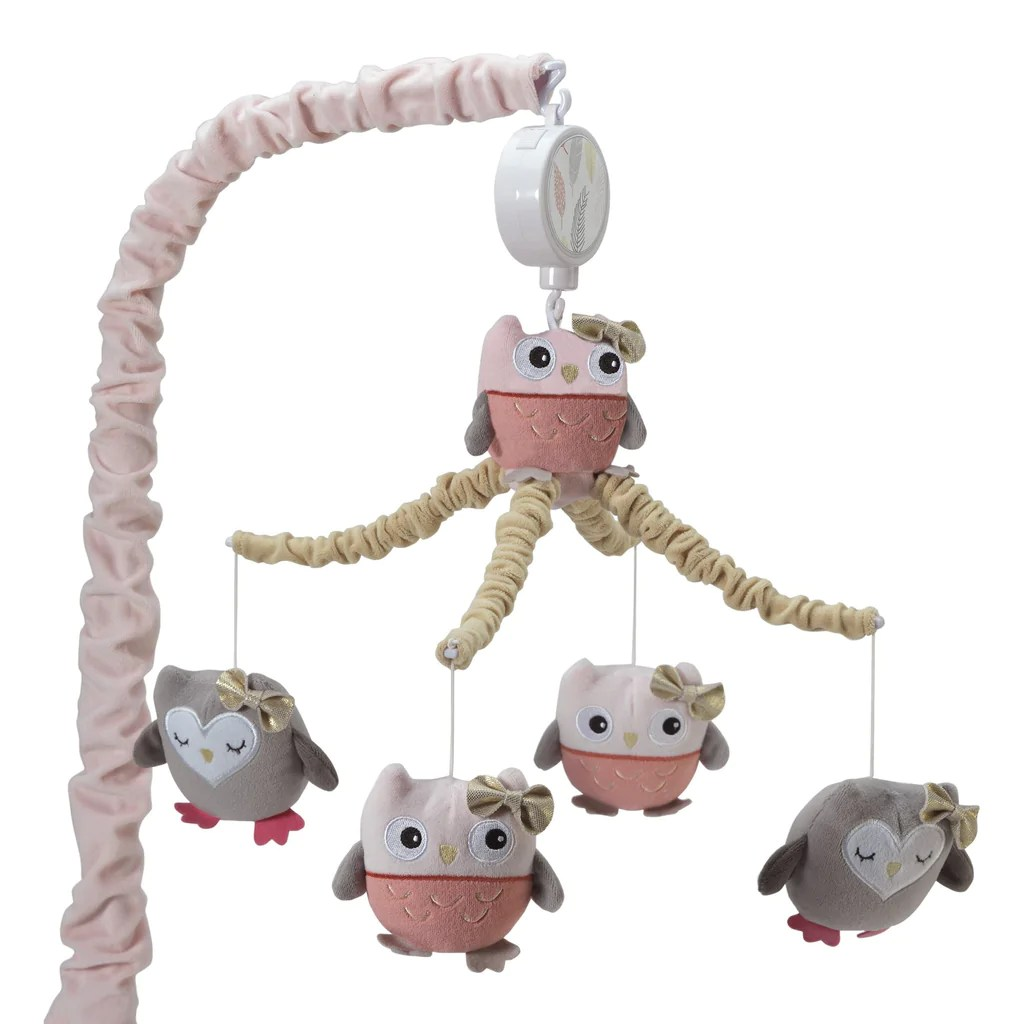 Family Tree Pink Gray Tan Owl Musical Baby Crib Mobile