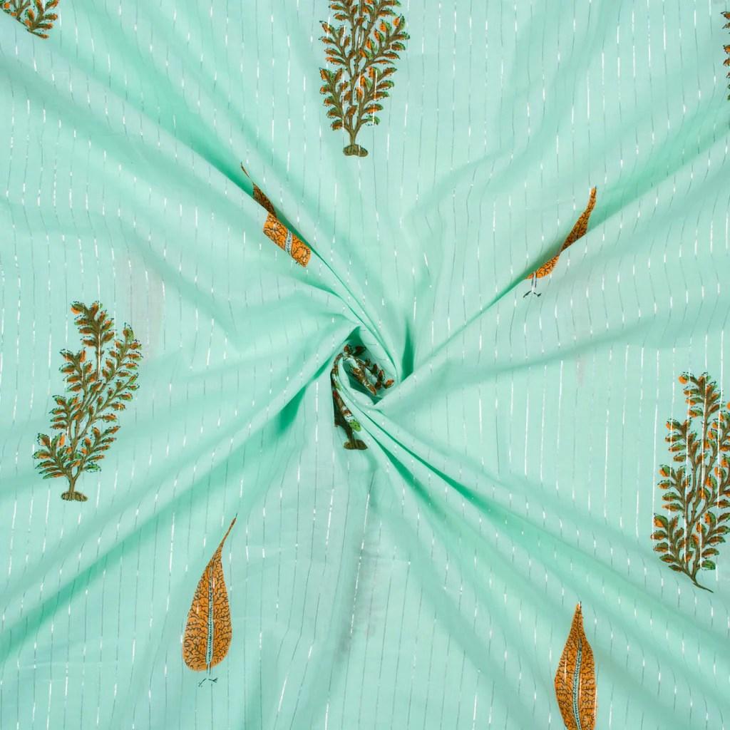 Mint Green And Mustard Yellow Leaf Pattern Handblock ...