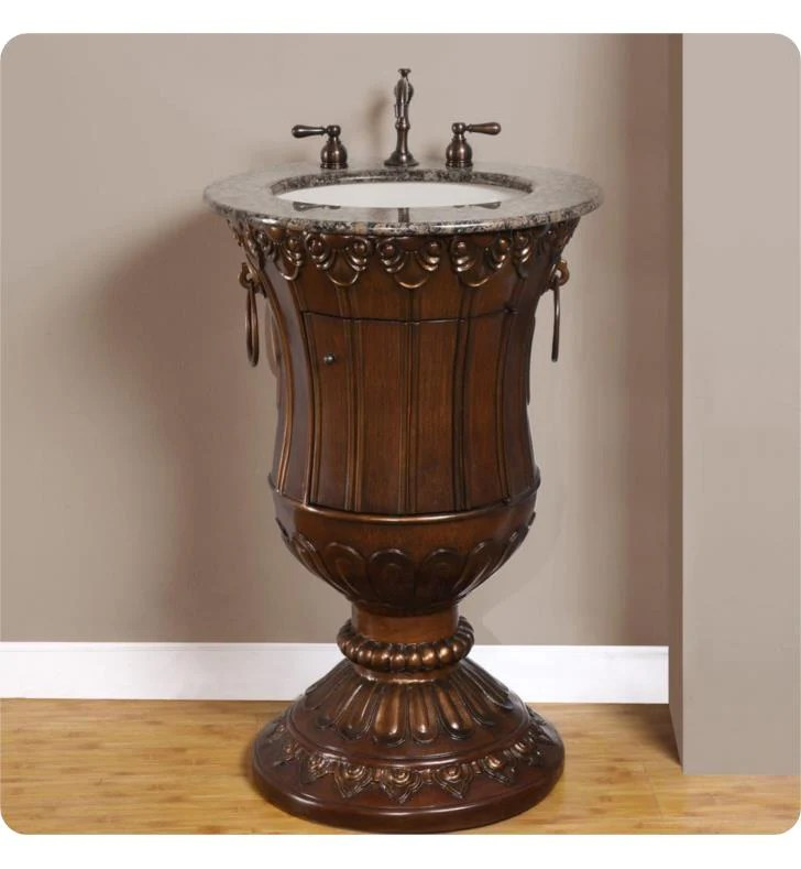 silkroad exclusive sink vanity in walnut with baltic brown granite elegant decor single ivory undermount oval sink hyp 0141 bb uic 23 23