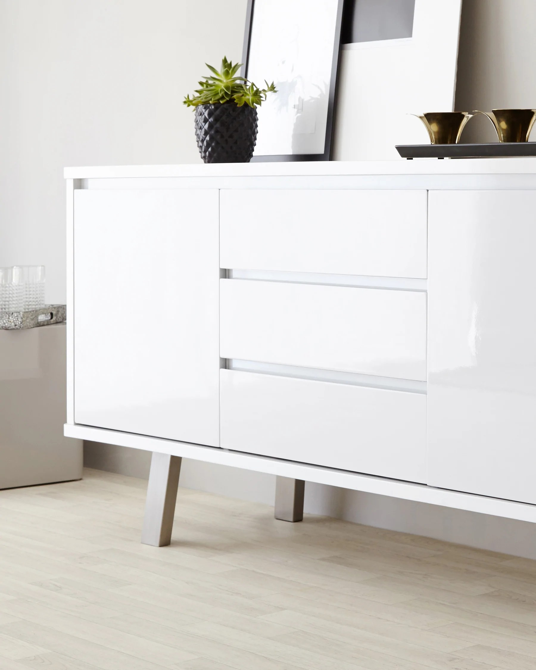 Sideboard Modern White Gloss Sideboard With Drawers & Doors Storage By Danetti