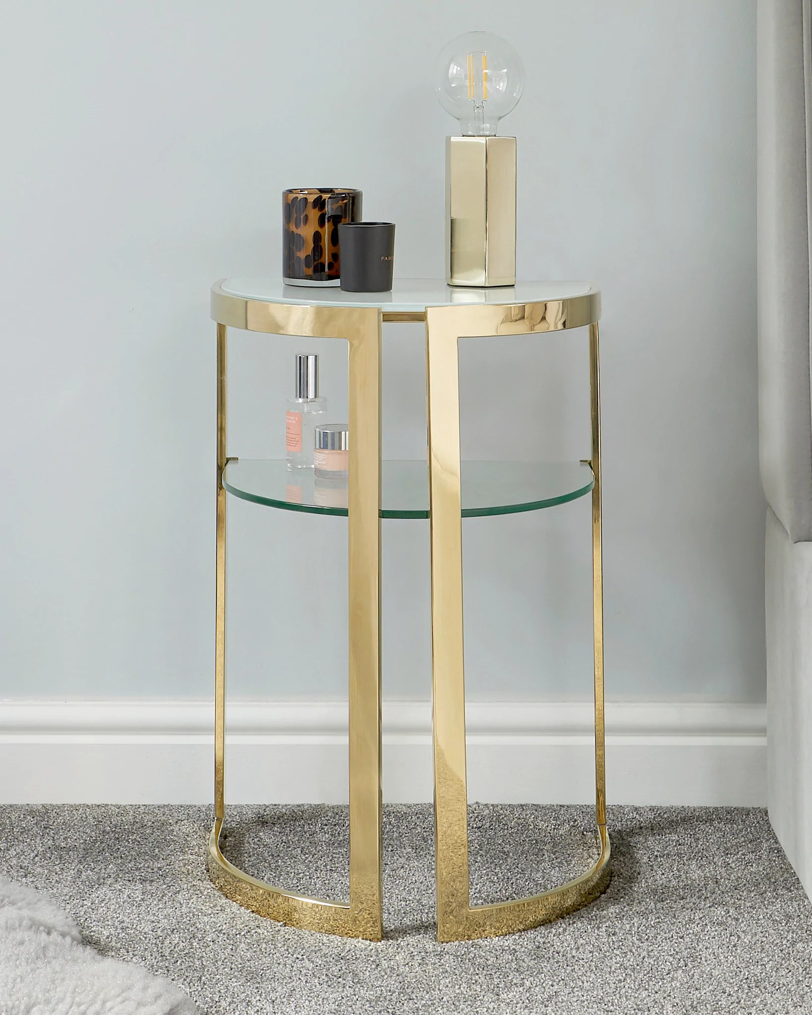 eclipse white glass and brass side table