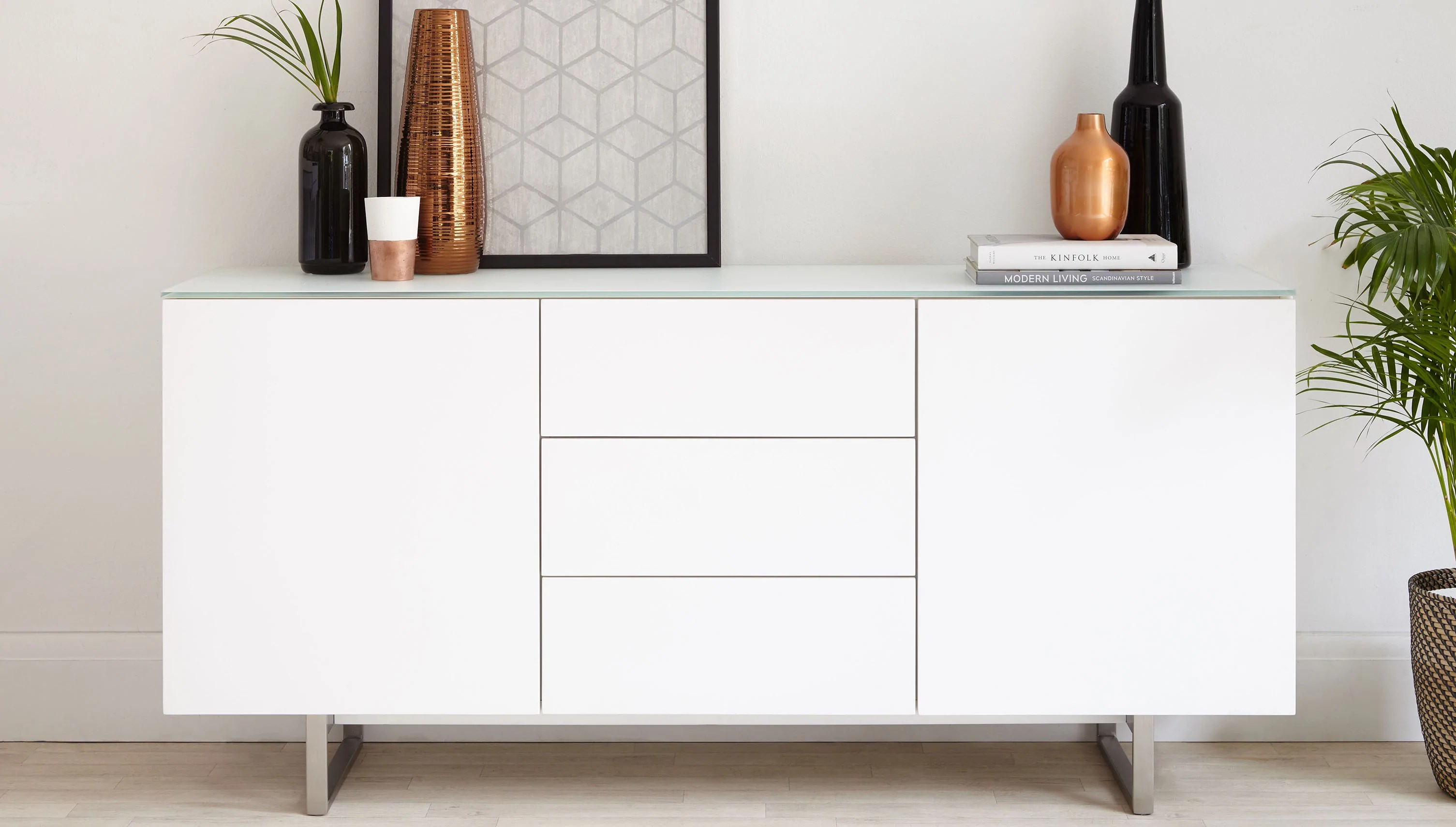 Sideboard Modern Modern White And Glass Sideboard With Storage | Uk Delivery – Danetti