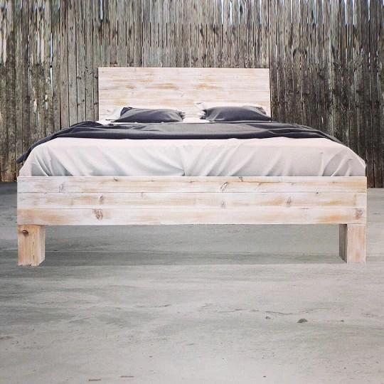 rustic beach wood whitewashed barn wood style headboard handmade in usa