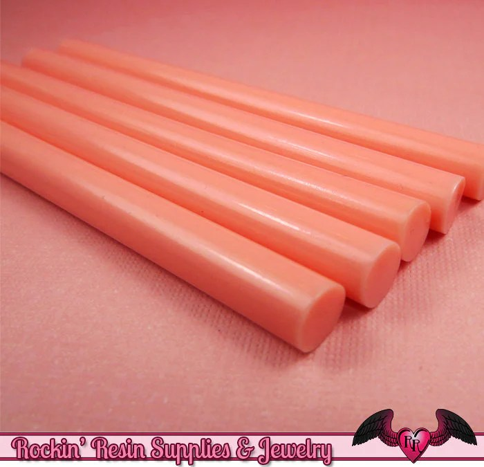 5 melon pink mini hot glue sticks