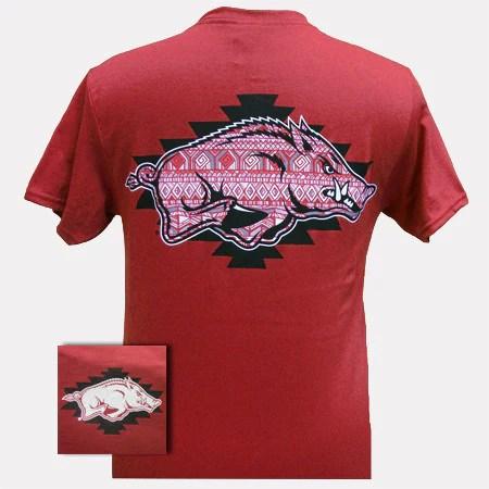 New Arkansas Razorbacks Aztec Hogs Logo Girlie Bright T