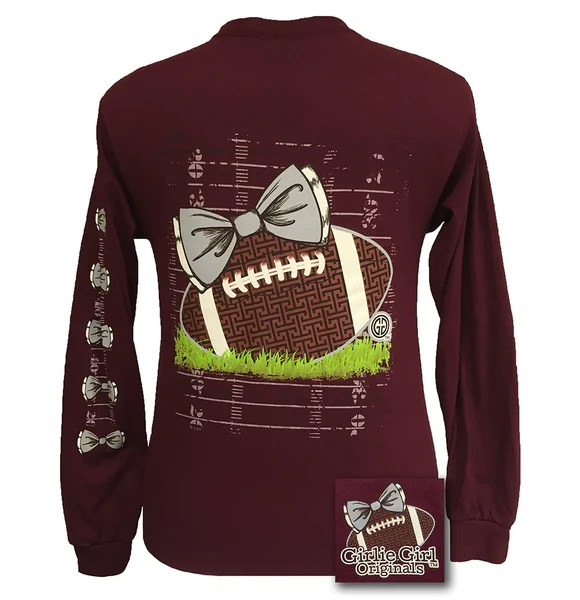 Girlie Girl Originals Preppy Football Team Big Bow Long Sleeves Maroon  SimplyCuteTees