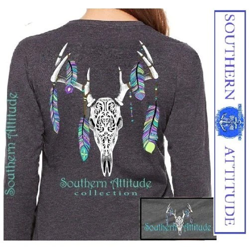 Southern Attitude Preppy Feather Deer Skull Gray Long