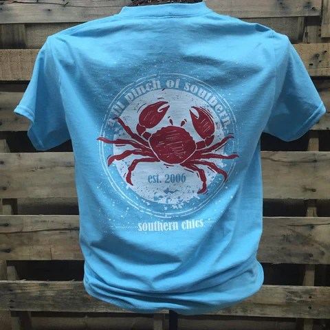 Southern Chics Apparel Lil Pinch of Southern Crab Girlie Bright T Shir  SimplyCuteTees