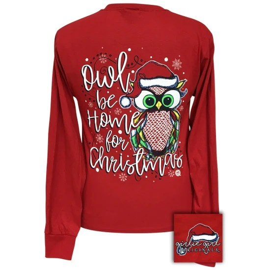 Girlie Girl Preppy Owl Be Home For Christmas Holiday Long