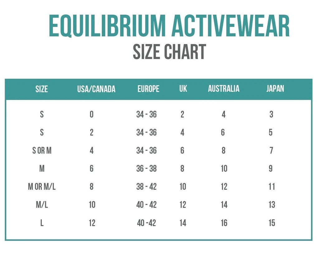 Equilibrium activewear size chart sizing also charts bikini information and helpful guide rh bikiniluxe