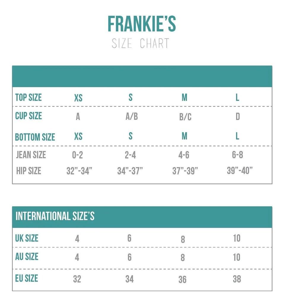 Frankie   bikinis size chart also charts bikini sizing information and helpful guide rh bikiniluxe