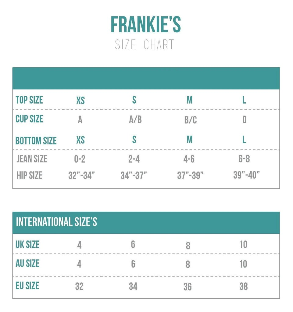 Frankie   bikinis size chart also charts bikini sizing information and helpful guide rh bikiniluxe