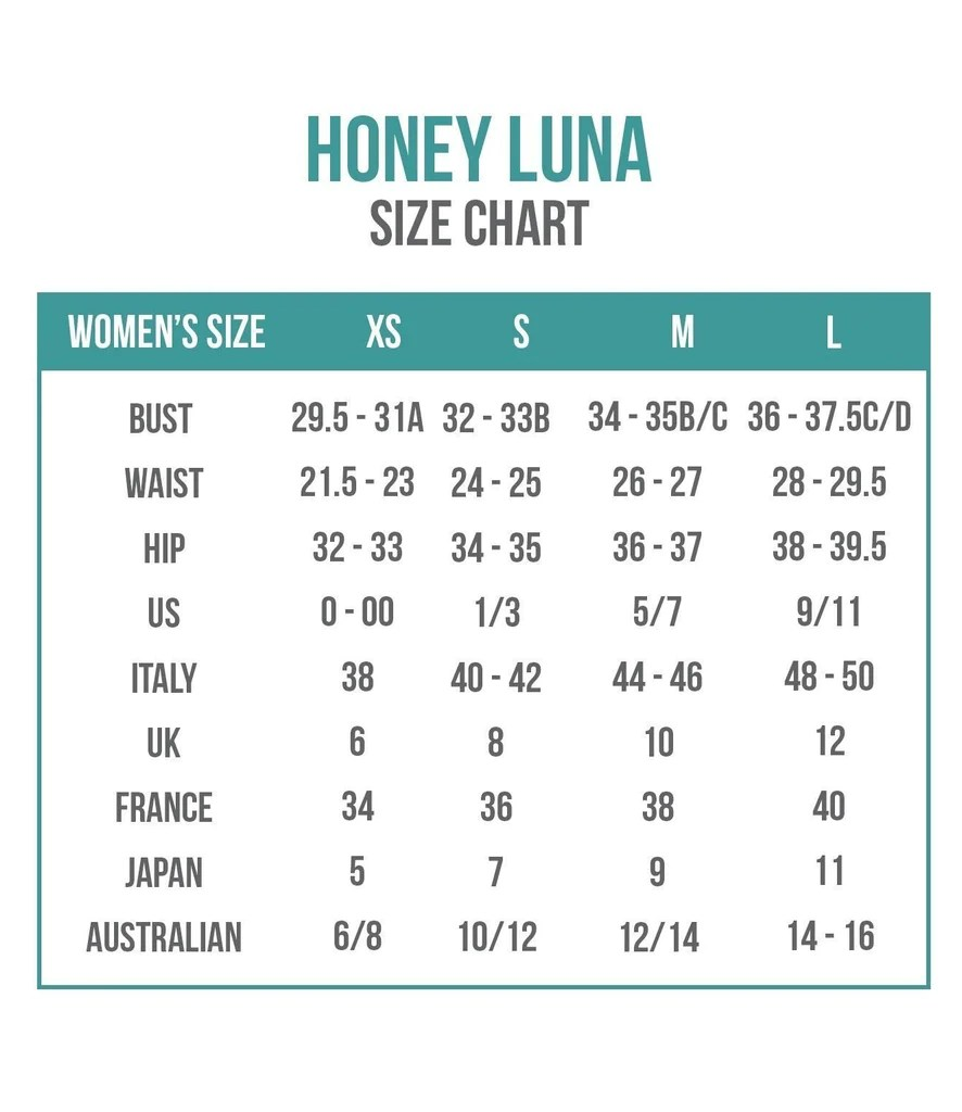 Honey luna size chart also charts bikini sizing information and helpful guide rh bikiniluxe