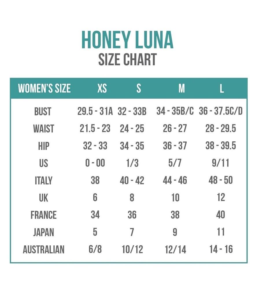 Honey luna size chart also charts bikini sizing information and helpful guide rh bikiniluxe