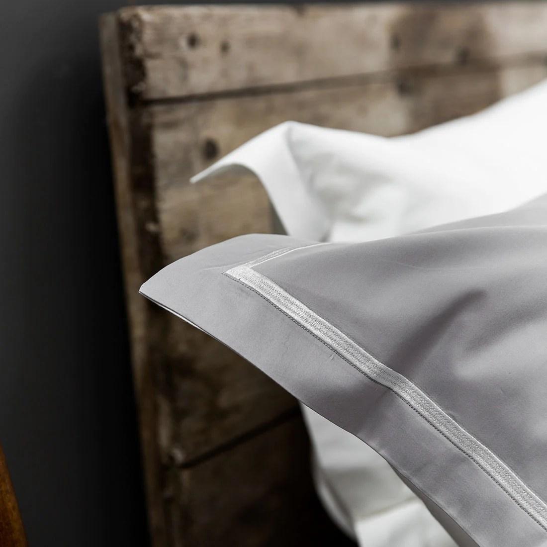 silver white corded 400tc pillowcases