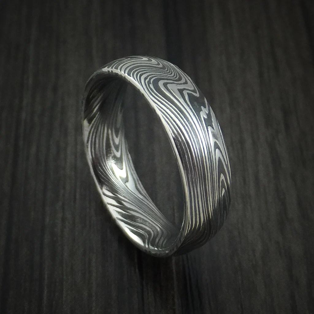Marbled Kuro Damascus Steel Ring Custom Made Wedding Band