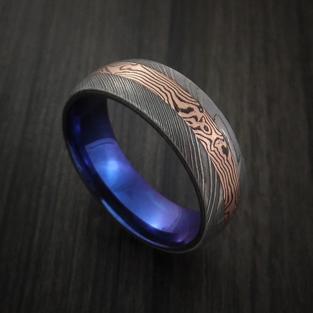 Damascus And 14k ROSE GOLD Mokume Gane Ring With Anodized