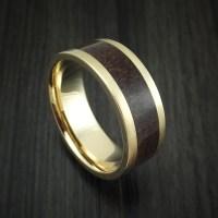 14K Yellow Gold and Red Dinosaur Bone Ring Custom Made ...