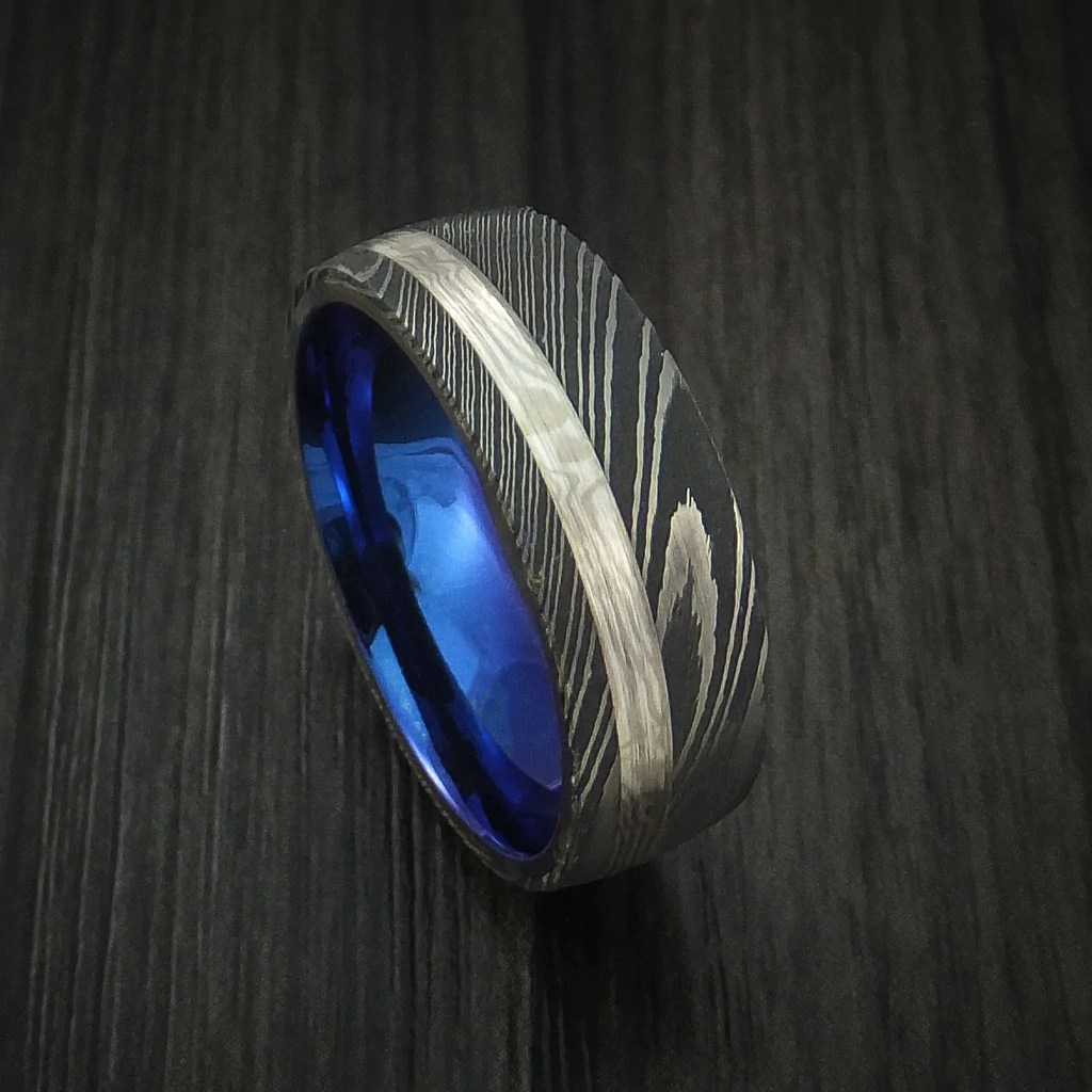 Damascus Steel And Palladium Mokume Gane Ring With