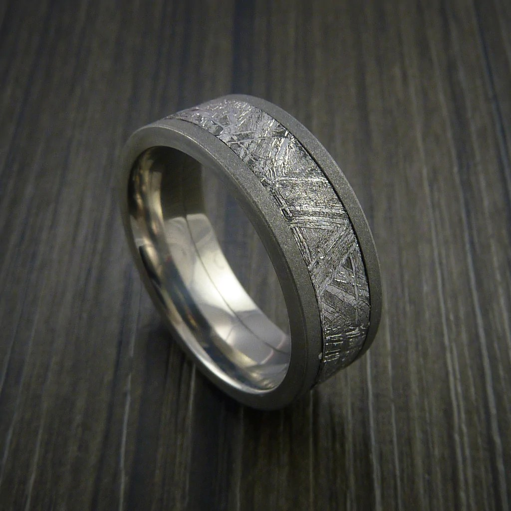 Gibeon Meteorite In Titanium Wedding Band Made To Any