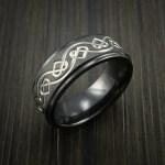Black Zirconium Celtic Heart Ring Irish Knot Design Band Revolution Jewelry Designs