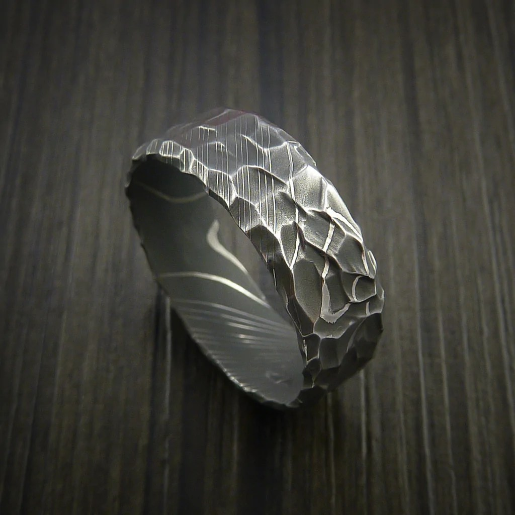 Damascus Steel Ring With Hammer Rock Finish Custom Made To