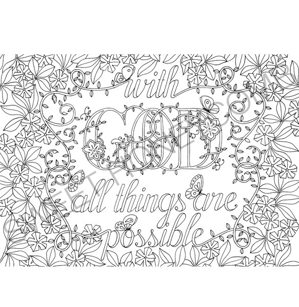 Colouring bible verse god all things are sweet, i love u coloring pages