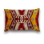 Silk Velvet Ikat Traditional Lumbar Pillow Snobstuff