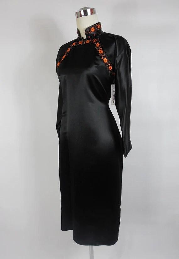 SOLD 1930 1940 Black Silk Satin Asian Style Dress