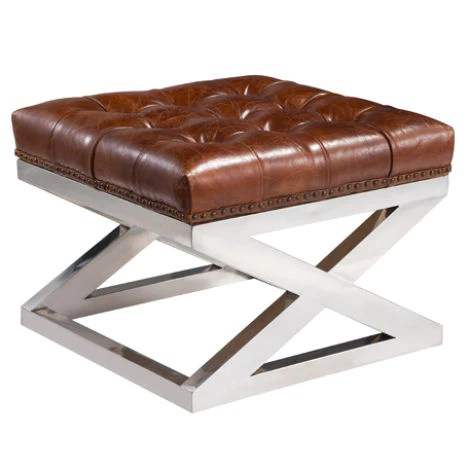 deal buttoned distressed leather metal cross footstool ottoman