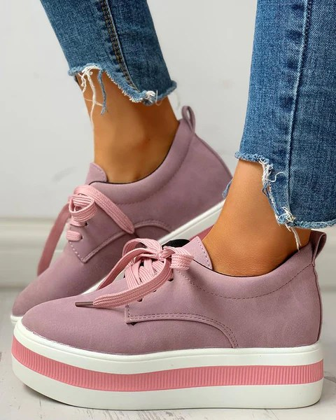 Colorblock Casual Platform Lace-Up Sneakers