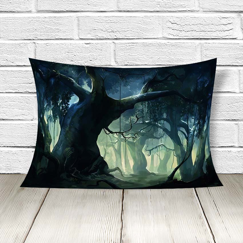 Dense forest painting for sale by artist pamela rebecca vincent at lowest price in india. Painting Brush Dense Forest Fantasy Throw Linen Pillow Fyi Planet
