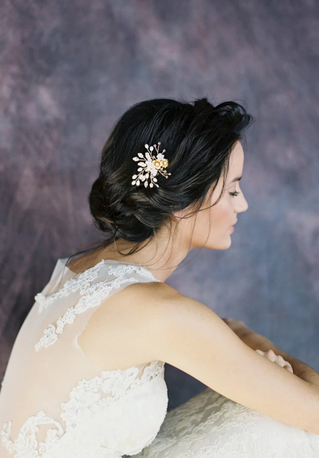 alejandra gold flower hair comb (more colours)